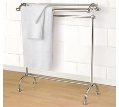 "Mercer Towel Stand | polished nickel | 31.5"" wide x 13"" deep x 34"" high 