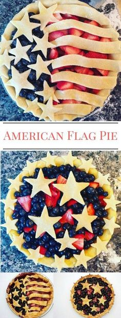 American Flag Pie & Star-Spangled Pies for Independence Day! Easy instructions to follow using very simple, basic ingredients.