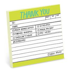 Knock Knock's Hand-Lettered Thank You Sticky notes are funny, printed memo notes. Bring wit to work with cool office supplies from Knock Knock.