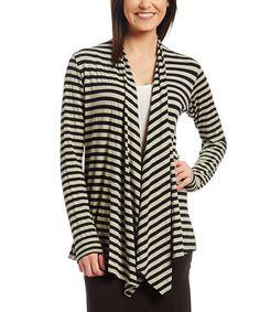 Love this Black & Gray Stripe Open Cardigan on #zulily! #zulilyfinds