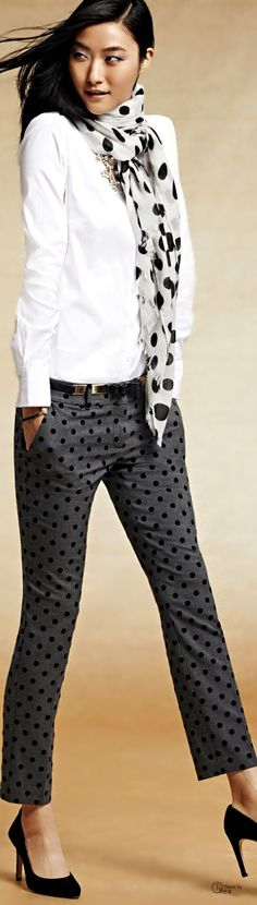 Office Casual. somehow I love these polka dot pants. Would wear with a black shirt, though