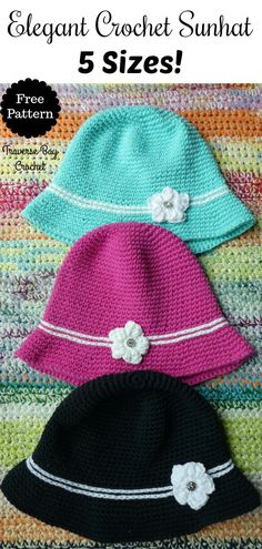 Crochet Elegant Sunhat 5 sizes |
