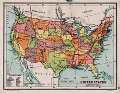 1930s Us Map Antique United States Map With Us States In Bright Colors Us School Map