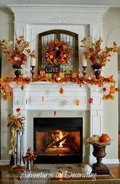 beautiful fall mantle & fireplace decor…the concept of falling leaves is too adorable. beautiful fall mantle & fireplace decor…the concept of falling leaves is too adorable. Decoration Evenementielle, Fall Mantel Decorations, Mantel Ideas, Mantels Decor, Halloween Decorations, Table Decorations, Turkey Decorations, Thanksgiving Decorations Outdoor, Christmas Decorations