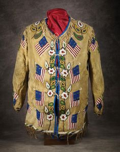 Northern Plains Man's Pictorial Beaded Coat, c 1890 Native American Beadwork, Native American Fashion, Native American Indians, Native Americans, American Flag, Indian Man, Native Indian, Beaded Jacket, Indian Artifacts