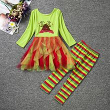 Delicate 2016 kids clothes girls clothes sets Kids Girl Outfit Christmas Long Sleeve Tops Dress+Pants Cartoon Clothes Sets 830(China (Mainland))