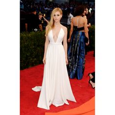 Nicola Peltz Spaghetti Straps Plunging White Custom Prom Dress 2015 Met Ball