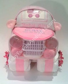 Car Diaper Cake for baby girl by BabyFavorsAndGifts, via Flickr