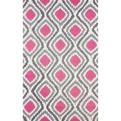 nuLOOM Handmade Modern Ikat Trellis Pink Rug (4' x 6')