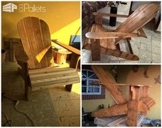 #AdirondackChair, #Garden, #Outdoor, #PalletChair, #ReclaimedPallet My Muskoka chair was made with pallets, only two days.