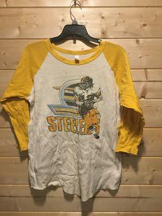 4b3b6a3c092 Vintage 1980 s Pittsburgh Steelers Raglan T-Shirt Bradshaw Soft Distressed  Retro Made In USA