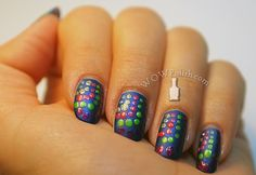 WOW Polish: Blue Matte Nail Art Design with colorful Dots