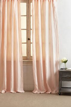 Soft pink linen curtains