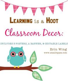 "*Three classroom posters (""Hoot"" themed)  *A welcome banner  *Two styles of blank labels to use for nameplates, cubby labels, book bins, folder labels, etc.  *A customizable document so you can add your own typed text on the banner and labels.  $2.50"