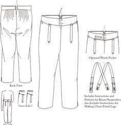 Pantalones del hombre de talle alto    c. 1790-1810  Opcional reloj de bolsillo en la cintura. Vents en los tobillos.