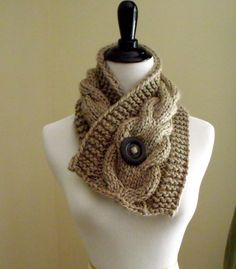 Women's Short Cable Knit Scarf Knitting Pattern, Knitting Pattern, Pattern for a Scarf, Scarf with B Cable Knit Hat, Cable Knitting, Knitting Patterns Free, Free Knitting, Short Scarves, Quick Knits, Purl Stitch, Scarf Design, Knitting Accessories