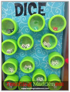 Dice Board - Put dice in containers, add magnets to the bottom of the containers, and stick them to a cookie sheet.  Makes it easier for kiddos to grab and go.  You can also add felt inside the container to cut down on noise.