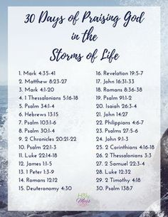 30 Days of Praising God in the Storms of Life Bible Reading Plan Encouraging Bible Verses:Use this Bible reading plan to praise God in life's storms & trials. Get the free 30 Days of Praising God in the Storms of Life reading plan here. Bible Study Plans, Bible Plan, Bible Study Tips, Bible Study Journal, Bible Lessons, Marriage Bible Study, Bible Journaling For Beginners, Bible Bible, Scripture Journal