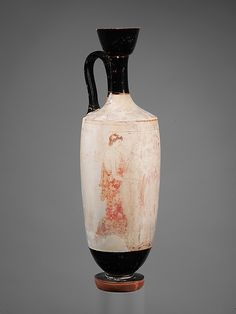 Terracotta lekythos (oil flask) Period: Classical Date: ca. 420 B. Ancient Greek Architecture, Architecture Art, Sea Peoples, Greek Pottery, Greek Art, Pottery Designs, Contemporary Ceramics, Ceramic Painting, Ancient Greece