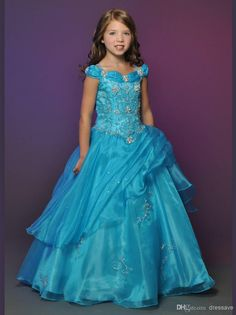 2014 New Year Cap Sleeve Embroidery Light Up Blue Organza Cinderella Dresses for Girls Flower Girls Dresses DF741, $84.7 | DHgate.com