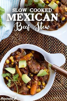 Warm up during the winter with this Slow Cooker Mexican Beef Stew! With simple prep, let the slow cooker do the work for you in this hearty south-of-the-border stew filled with corn, tomatoes, beans and beef. Make sure to line the slow cooker with a Reynolds Slow Cooker Liner for easy cleanup and serve directly from the slow cooker. Top it off with avocado or cilantro for added flavor. Once complete, throw the Reynolds Slow Cooker Liner away for a no-mess meal. Get this delicious recipe…
