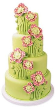 Artist unknown: from sugarcraft.com, where instructions are to be found.  Colors are meh, but I like the symmetry and repetition of the flower stems.