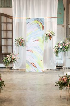 painted ceremony backdrop - photo by Amy Hutchinson Photography http://ruffledblog.com/pattern-play-wedding-inspiration-in-memphis