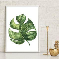 Monstera Leaf Wall Print Tropical Print Home Decor