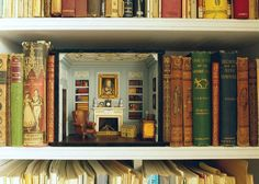 miniature diorama of a library in a bookcase ~ Small scale collecting idea, just one room, not a whole house! Vitrine Miniature, Miniature Rooms, Miniature Paintings, Miniature Furniture, Book Nooks, Fairy Houses, Small World, Bookshelves, Bookshelf Styling