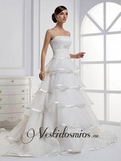 Modreno Strapless Vestidos de Novia Con Capas Falda VW1145 [VW1145] - Mex$4,548