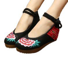 Amazon.com: AvaCostume Womens Embroidery Cheongsam Casual Platform Wedges: Shoes