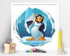 Items similar to Cache the wave cool penguin. Children Playroom Decor on Etsy Children Playroom, Art Children, Art Wall Kids, Wall Art, Playroom Decor, Penguins, My Etsy Shop, Waves, Art Prints