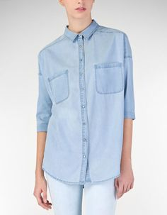 Oversize denim shirt stradivarious