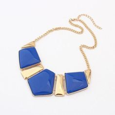 Women Retro Statement Fashion Rhombus Gems Necklace Vintage Bib Necklace & Pendants Chain Collar Party Necklace #N233
