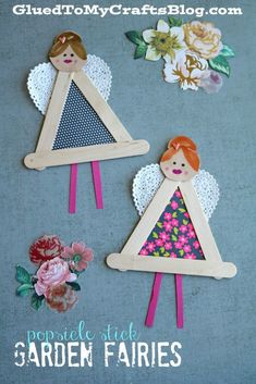 Popsicle Stick Garden Fairies - Kid Craft - Glued To My Crafts Popsicle Stick Garden Fairies - Kid Craft If you appreciate arts and crafts you will enjoy this cool site! Craft Activities, Preschool Crafts, Diy And Crafts, Crafts For Kids, Arts And Crafts, Popsicle Stick Crafts, Craft Stick Crafts, Popsicle Sticks, Craft Sticks