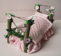 Fairy bed pink flowers with bed linen by MyHandmadeDreams on Etsy, €25.00