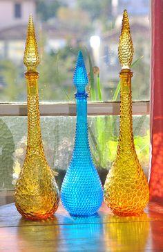 3 Vintage Mid Century Italian Glass Genie bottles