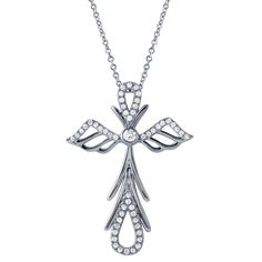 Angel cross diamond Cross Pendant