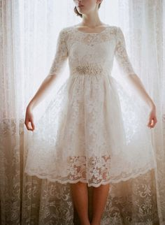Lace and Cotton Wedding Dress - nontraditional wedding gown Lace Tea Length Dress, Tea Length Wedding Dress, Tea Length Dresses, Short Dresses, Dress Lace, White Dress, Ruffled Dresses, Lace Gowns, Dress Red