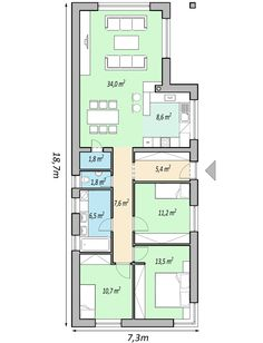 My House Plans, Modern House Plans, Small House Plans, Narrow House, Facade House, Home Design Plans, Open Plan Living, House Layouts, Interior Exterior