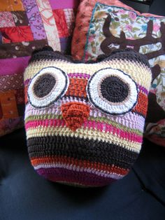 colorful crocheted owl pillow