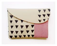 MIXED CLUTCH / beige leather pink suede black triangles. Blackbird And the Owl