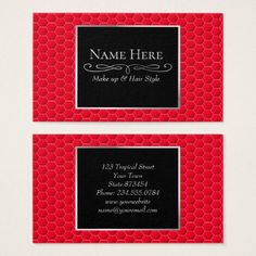 Red geometric hexagon business card - pattern sample design template diy cyo customize
