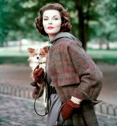 Vintage fashion photo - stunning women in plaid coat with darling little dog, Vogue, 1956 #magazine #advertising