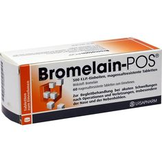 BROMELAIN POS magensaftresistente Tabletten:   Packungsinhalt: 60 St Tabletten magensaftresistent PZN: 02260001 Hersteller: URSAPHARM…