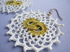 Double Moon Crocheted Earrings in gold and cream