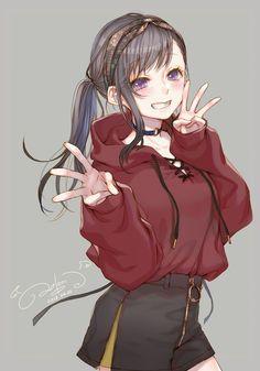 Cr : ao_beni on twt Fille Anime Cool, Art Anime Fille, Cool Anime Girl, Pretty Anime Girl, Cute Anime Pics, Beautiful Anime Girl, Cute Anime Couples, Cute Manga Girl, Chibi Anime