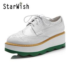 36.20$  Watch now - http://airq5.worlditems.win/all/product.php?id=32797678938 - Flat Platform Oxford Shoes For Women Carving Wedges Casual Creepers Ladies Brogue Shoes Woman Lace Up High Heels Oxfords Z134