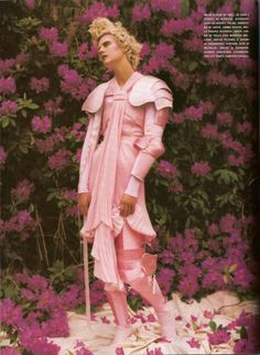 witchesandslippersandhoods:  Tim Walker Vogue Italia 2007 Knight in shining pink armour