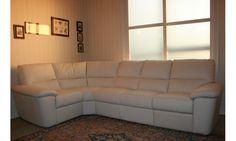 salotto New Golf |Salotto angolare rivestito in pelle torello colore 93 bianco. Dimensione: lunghezza cm. 190x294 - altezza cm. 92 - profondità cm. 98.